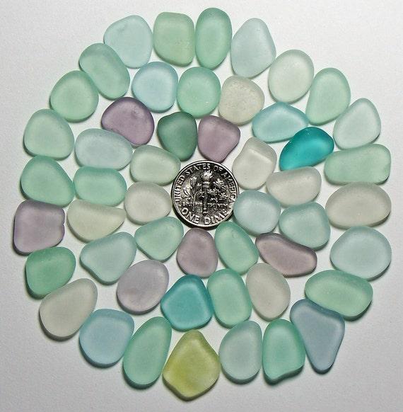 Moonstone Colors Amethyst Aqua Genuine Beach Sea Glass Lot (P3) Free Shipping in US