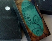 Dragonfly Domino Tile Pendant-Aqua/Brown-(A30)  Buy 2 Get 1 Free on all Domino Tile Pendants - loveofcharmsbydlt