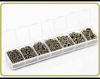 1510 pieces Jump Rings bronze - different sizes -  assorted  in 1 Box