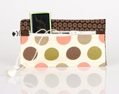 Single pocket brownish and pink dotts cotton hand made small case