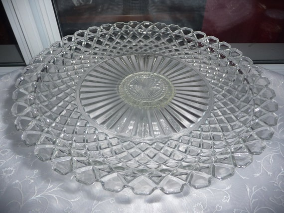 Vintage Clear Cut Glass Waffle Pattern Pedestal Cake Stand