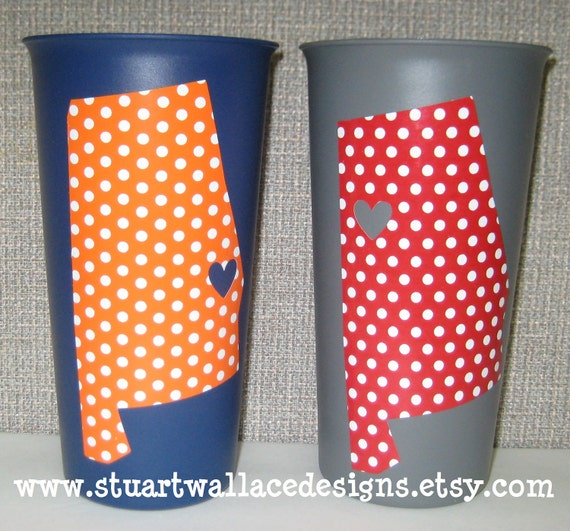 Alabama / Auburn tailgating tumblers - my heart belongs to .... personalized gift