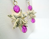 Recycled Book Paper Earrings - upcycled Froebel Star magenta pink fushia beads
