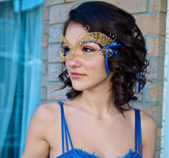 Sapphire and gold Butterfly Wire Masquerade Mask