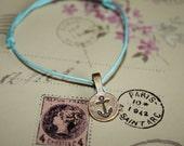 Gold Antique Anchor on Adjustable Stringed Bracelet