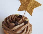Custom Listing for eaessner - Set of 12 Sparkly Gold Star Cupcake Toppers