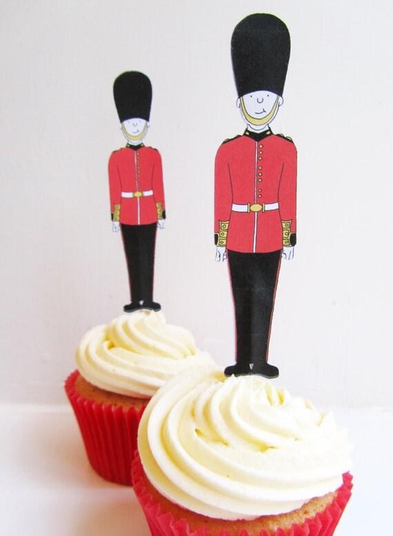 Buckingham Palace Guard Jubilee Cupcake Toppers