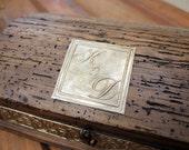 Personalized Rustic Treasure Chest Wood Box - Wedding Box, Keep Sake Box. - Medium Size