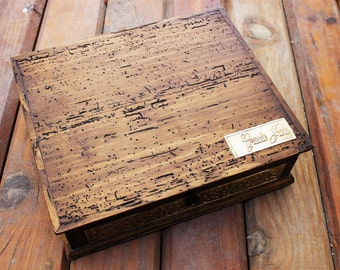 Personalized Rustic Makeup Box - Jewelry Box  with inside mirror.