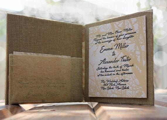 Wedding Invitation Booklet - Letterpress printed with inside pocket  and aluminum monogram - Vintage Tree - Sample Set
