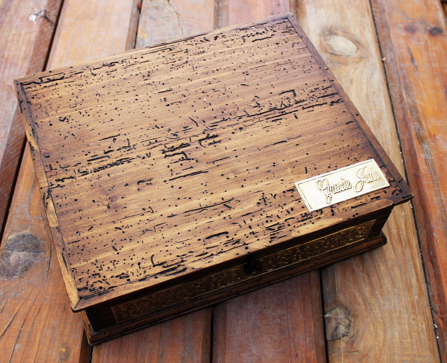 Ring Box Rustic Wedding ring box hand painted rustic primitive