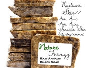 8 oz RAW/UNFILTERED Premium - African Black Soap//Handmade in Ghana : Anti Aging, Anti Acne, Rosacea, Eczema, Natural Shampoo & More...