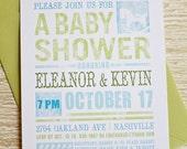 Shabby Chic Baby Shower Invitation DIY Printable PDF