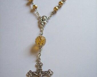 Handmade Gold Glass Pearl Car Rosary