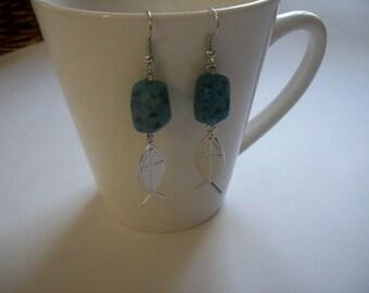 Handmade Beaded Stone Fish/Cross (Ichthys) Earrings