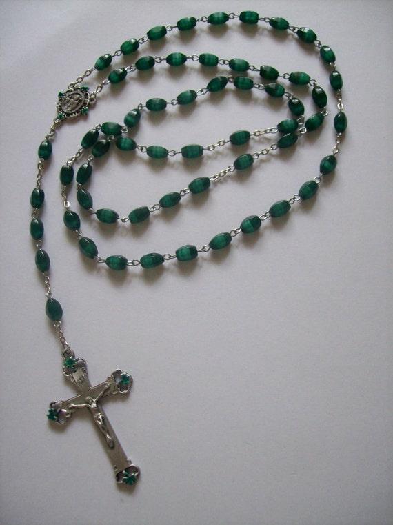 Handmade St. Patrick Emerald Green Cats Eye Rosary