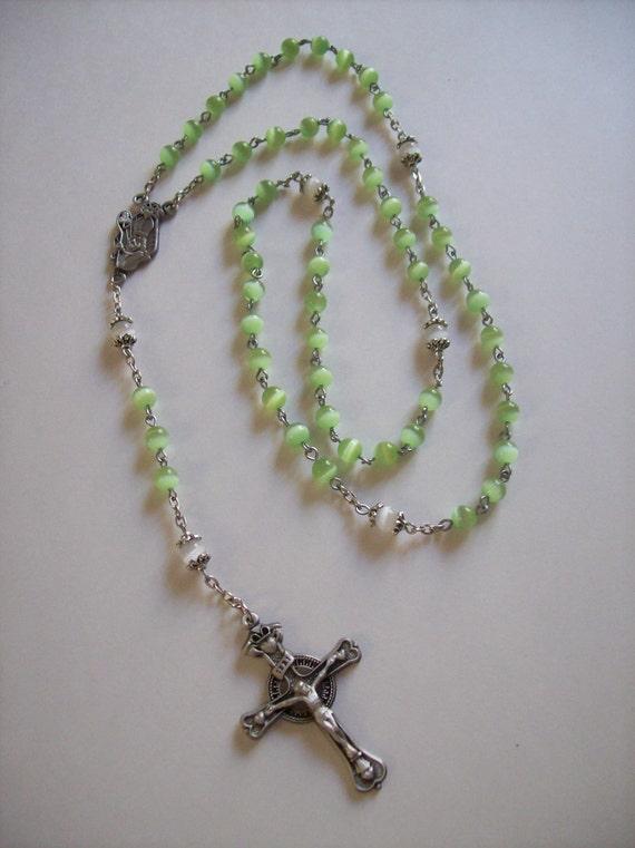 Handmade St. Patrick Spring Green Cats Eye Rosary