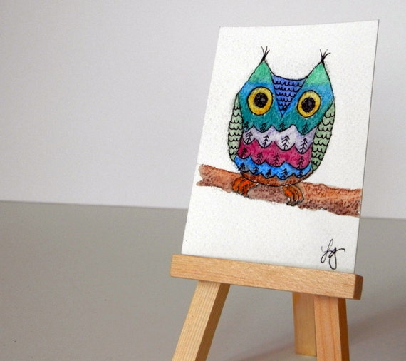 WHIMSICAL OWL Watercolor and Ink Small Format Art ACEO Miniature Artwork