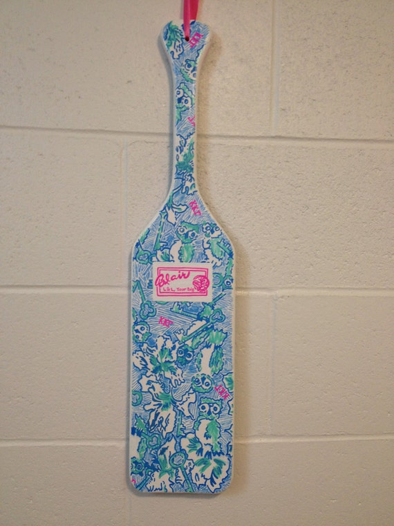 Lilly Pulitzer-esque Custom Made Greek Sorority Wooden Paddle