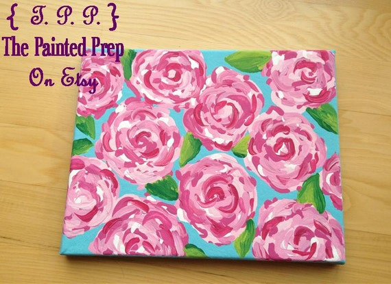 Lilly Pulitzer-esque Hotty Pink First Impression Canvas 8x10 Painting