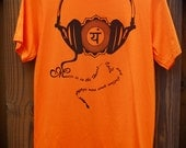 RESERVED for Monika Horvat: Women's Organic Tshirt, Music is in the Heart, Size Sm-Med, Screenprinted, Chakra, Headphones, Eco Friendly