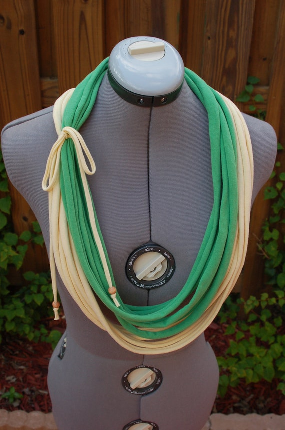 Upcycled Layered Tshirt Scarf/Necklace - Eco Friendly