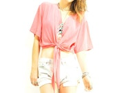 ViNTAGE NEON CORAL BLOUSE / pure soft silk / chic halter tie front / cropped elastic back / xs - m .