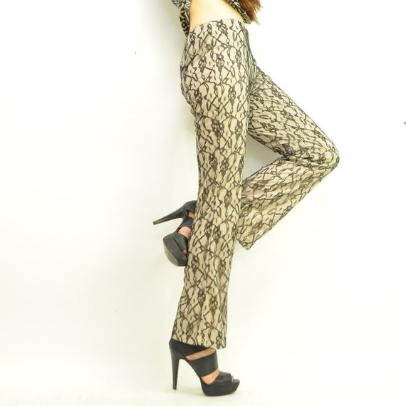 ViNTAGE NUDE LACE PANT / thin black lace over neutral / flare bells .