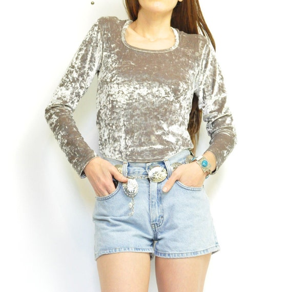 90s SiLVER CRUSHED VELVET TOP