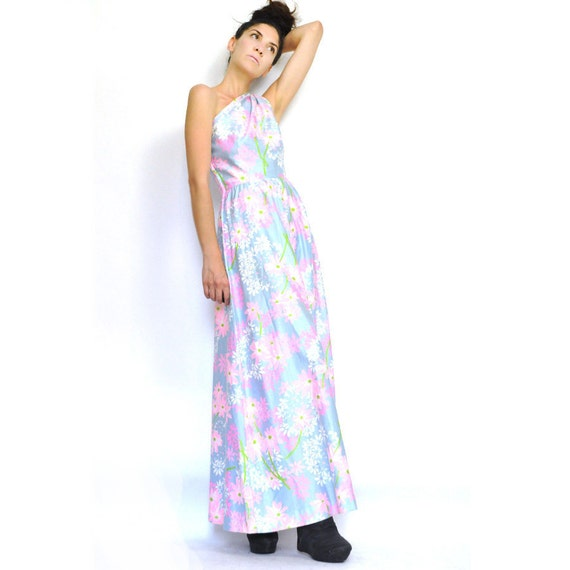 60s ONE-SHOULDER MAXi DRESS / pastel floral / unique / rare find / xs s .