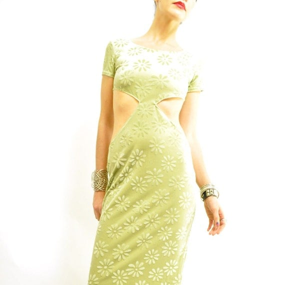 90s DAiSY CUT-OUT MAXi / best lime green / velvety / back slit / customized / hot .