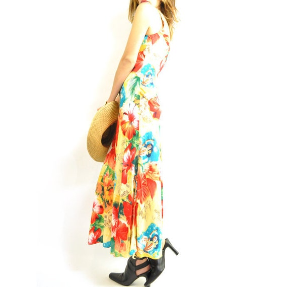 Sale. ViNTAGE HAWAiiAN SOUVENiR PRiNt MAXi / long summer dress / best print with bombshell babe / 90s slip tank style / xs .