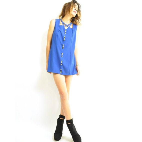 ViNTAGE COBALT CUTOUT MiNi / best customized 80s dress / shocking bright color / mod & modern / xs s.