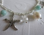 The Candice Bracelet - Freshwater Pearl, Amazonite, Crystal & Starfish Dangle Bracelet