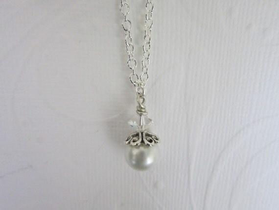 The Caroline Necklace - Swarovski pearl with swarovski crystal necklace