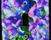 Purple Pansies Single Switch Cover from original photograph
