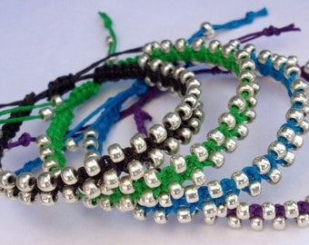 CLEARANCE - Colorful Hemp Bracelets with Silver Beads
