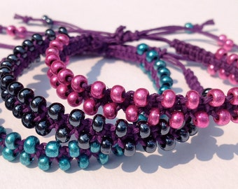 CLEARANCE - Purple Hemp Bracelet with Metallic Glass Seed Beads in Pink or Black