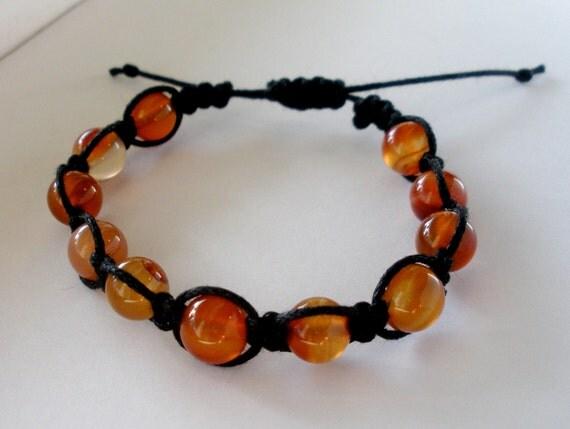 Carnelian Beads on Black Waxed Cotton Cord Bracelet