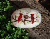 Felted Soap, Merino Wool, Red Bird Love With Nest, Handmade