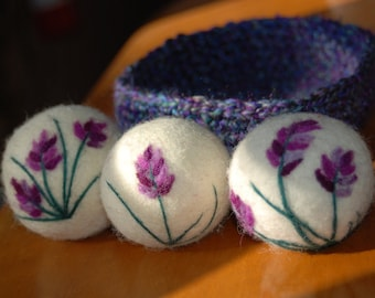 Wool Dryer Balls, Lavender Essential Oil Infused, Sachets, Set of 3 With Crocheted Basket, Eco Friendly, Natural, Handmade, Christmas Gift