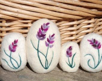 Felted Soap, Lavender Soap, Hand Felted Set Of 4 Bars
