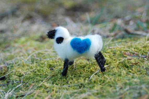 Love You Love Ewe, Felted Sheep, My Blue Heart, Easter Gift, Valentine's Day