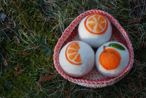 Wool Dryer Balls,, Orange Essentail Oil Infused, In Crocheted Cotton Bowl, Handmade, Christmas, Orange