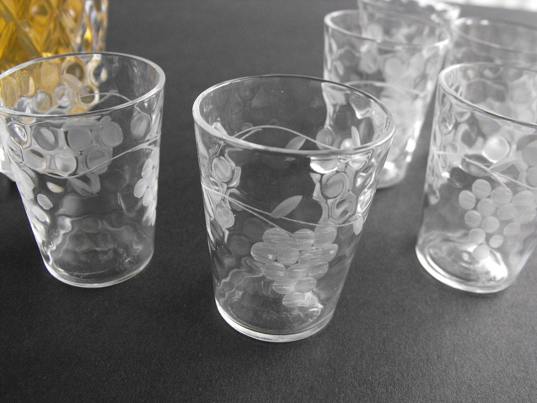 Vintage Etched Glass Shot Glasses