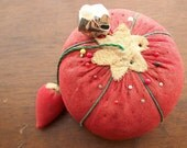 Vintage Tomato Pincushion with Needle Emery and Needles