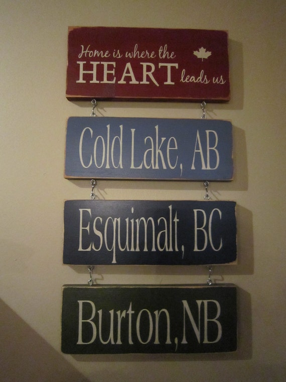 Home is Where the Army Airforce Navy RCMP Sends Us FOUR Posting Set Canadian Primitive Rustic Country Military Sign