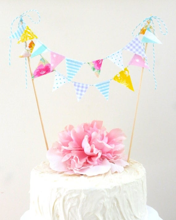 """Vintage Fabric Cake Bunting- """"Dimples in the Garden"""""""