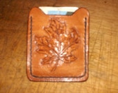 Hand Tooled Leather  money clip card , I.D. wallet