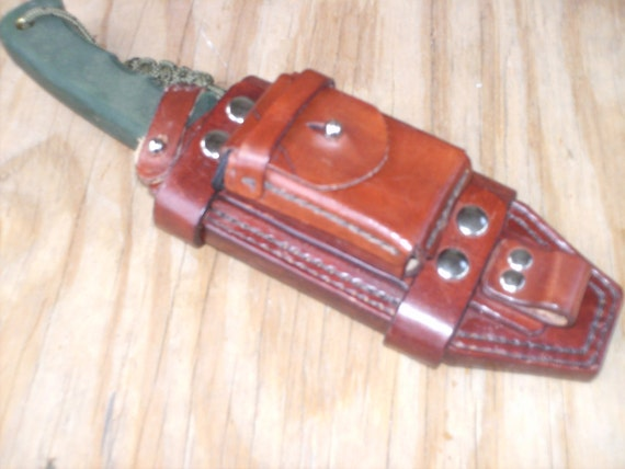 hand crafted leather knife sheathe